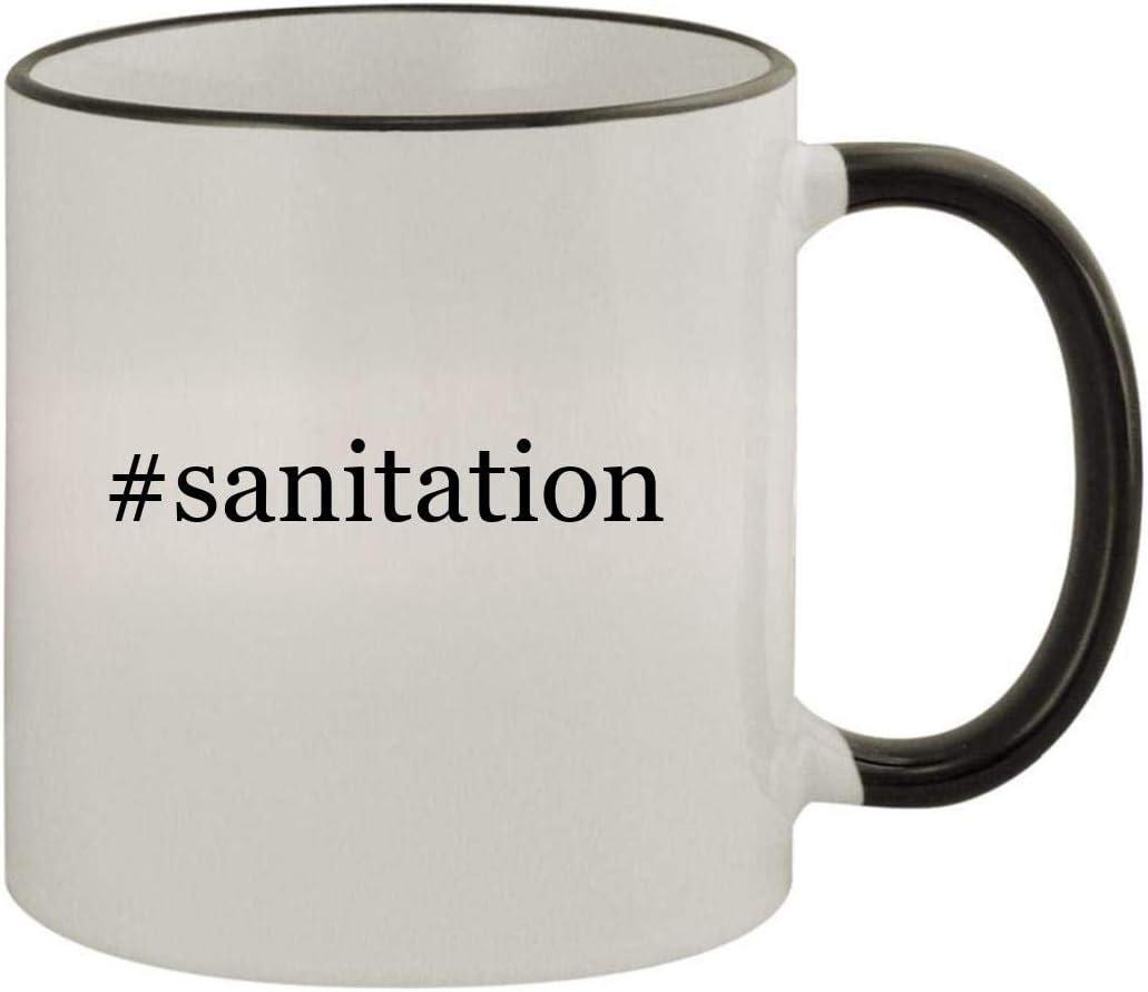 #sanitation - 11oz Ceramic Colored Rim & Handle Coffee Mug, Black