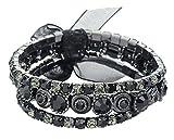 Women's Stone Stud 3 Piece Stackable Stretch Bracelet, Black