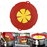 WLHOPE Pot Lids Pan Cover Spill Stopper Silicone Dust-Proof Overflow-Proof Spash-Proof Flower Pattern Mutifunctional Cooking Boiling Kitchen Tools (Red)