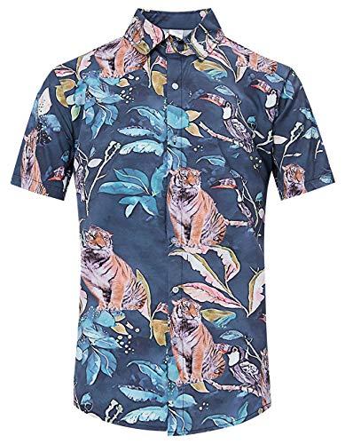 (TUONROAD Casual Tropical Vacation Aloha Short Sleeve Boys Collared Hawaiian Shirt Aquamarine Blue Small Leaves Tiger Funny Printed Pattern Fitted Button Down Shirt Vintage Hawaiian Shirts)