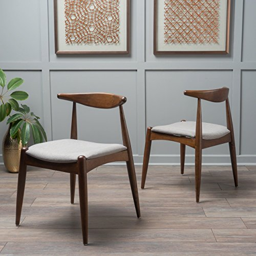 Christopher Knight Home 300007 Francie Dark Beige Fabric with Walnut Finish Dining Chairs (Set of 2),