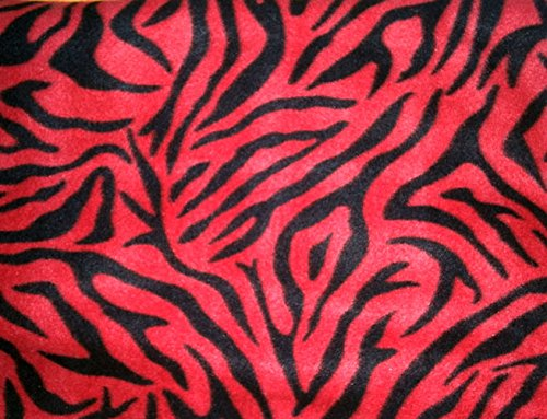 Lilly Craft Zebra Black Stripes on Red Fleece By the Yard by Lilly Craft Fleece   B00QUJLDGA