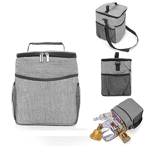Ice Grey Barrier (Pawaca Insulated Picnic Bag, Portable Outdoor Travel Picnic Box with Handle & Shoulder Strap, Foldable Triple Heat Insulation Soft Cooler Tote 10L Travel Cooler for School/Office/Beach/Picnic/Camping)