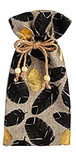 Lovely Feather Burlap Wine Bags - Set of 2