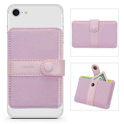Phone Card Holder Ultra-Slim Self Adhesive Stick-on Credit Card Wallet, Cell Phone Wallet with Pocket for Credit Card, ID, Business Card - iPhone, Android and Most Smartphones (Horizontal Pink)