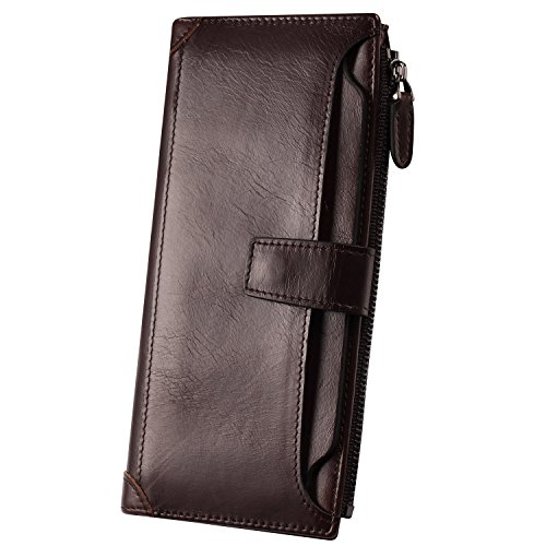 Lecxci Leather Credit Checkbook Wallets