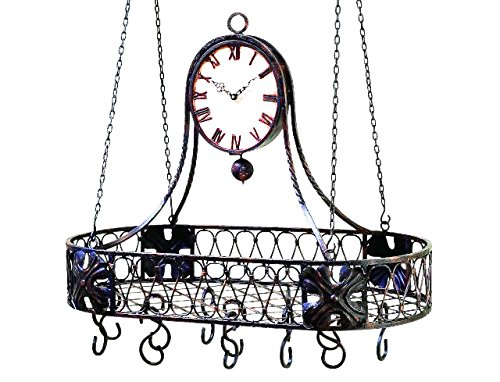 Large Oval Iron Clock Pot Rack | Double Sided Hanging