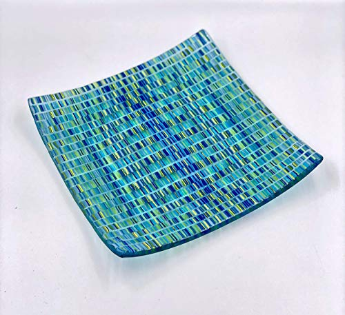Handcrafted 10 Inch Aqua Fused Glass Decorative Bowl with Turquoise Blue and Lime Green