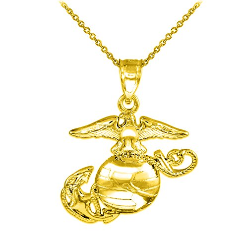 (14k Gold Medium Charm US Marine Corps Military Pendant Necklace, 22