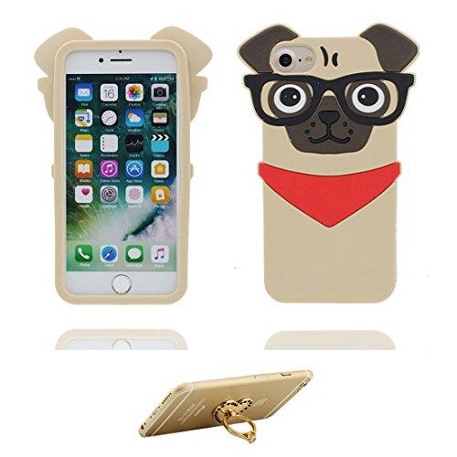 Coque iPhone 7, iPhone 7 étui Cover, [ TPU flexible 3D Bouledogue chien pug ] iPhone 7 Case Shell 4.7 pouces, Pug Dog anti-chocs, des empreintes digitales et ring Support