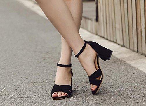 casual sandalias tamaño UE dedo del Scrub 35 39 pie OL Chunky abierto moda Black X elegante alto cm belt talón 7 nga6BxZT