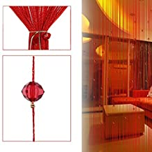 Jocestyle Decorative Door String Curtain Beads Parts Crystal Tassel Screen Wall Panel Fringe Room Door Window Divider Blind for Wedding Coffee House Restaurant Home Decoration (04 Red)