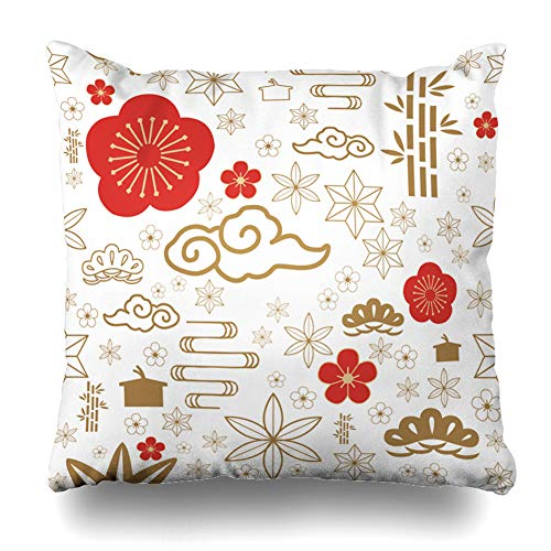 (ArTmall Throw Pillow Case Leaf Red Gold for Celebration Such Cherry Blossom Bush Cloud Flower Bamboo Wave Design Floral Zippered Pillowcase Square Size 16 x 16 Inches Home Decor Cushion Covers)