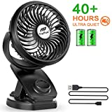 Battery Operated Clip on Stroller Fan - Mini Portable Desk Fan with Rechargeable 4400mA Battery Operated Fan for Baby Stroller, Outdoor Activities (Max 40Hours)