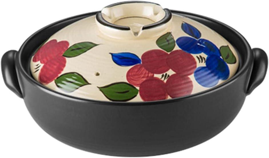 Earthenware Clay Pot Clay Casserole Hot Pot Household Heat Resistant Soup Stew Pot Pot Rice Cooking Pot Hand Painted-4.5L