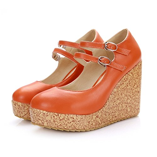 Sexy Buckle (Size 31-43 Women Pumps Fashion Sexy Round Toe Buckle High Heel Woman Shoes Green Red Yellow Orange)