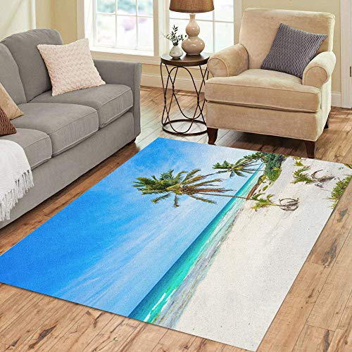 Semtomn Area Rug 5' X 7' Caribbean Sea in Mexico Riviera Maya Paradise Beach Beautiful Home Decor Collection Floor Rugs Carpet for Living Room Bedroom Dining Room