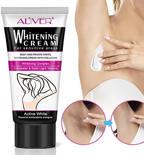 Underarm Whitening Cream, Lightening Cream Effective for Lightening & Brightening Armpit, Knees, Elbows, Sensitive & Private Areas, Whitens, Nourishes, Repairs & Restores Skin 60ml
