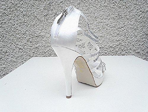 Women's Pumps Wedding Bridal High Heel Diamante Evening Ceremony Needle je-8Ivory MuXi9y9qzr