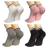 Lantee Non Slip Skid Yoga Pilates Socks with Grips Cotton for Women Pack of 4