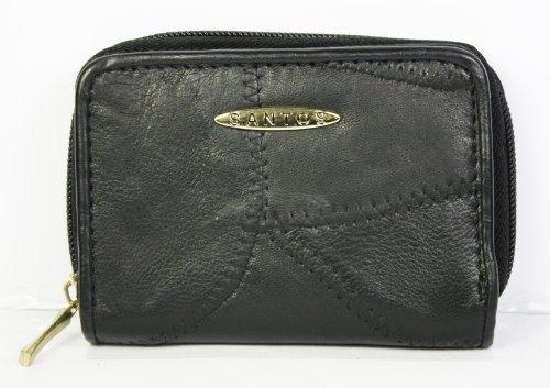 Borsa in pelle Santos Patchwork, colore: nero, in vera pelle con interno in poliestere; dimensioni da chiusa: 13 x 9 cm, aperta: 17 x 12 cm, con scomparti per carte, tessere e banconote