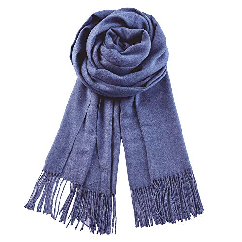 QBSM Womens Large Soft Winter Wedding Evening Pashmina Shawls Wraps Scarfs Cobalt Blue for Mother's Day Gifts
