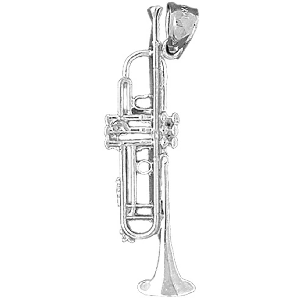 Jewels Obsession Trumpet Pendant 43 mm Sterling Silver 925 Trumpet Pendant