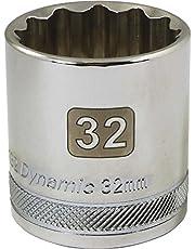 Dynamic Tools 1/2-Inch Drive 12 Point Metric, 32-Millimeter Standard Length, Chrome Finish Socket