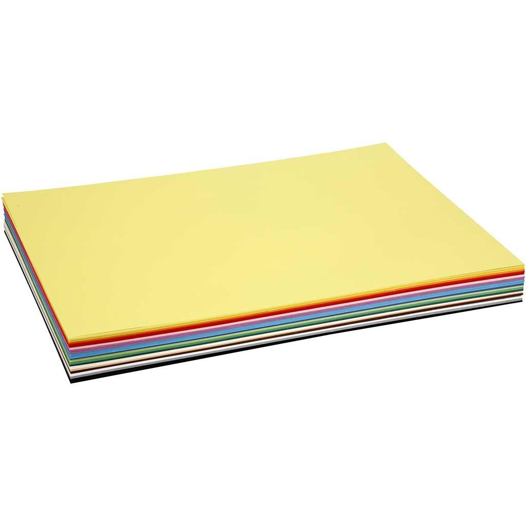 Coloured kraft card, A2 42x60 cm, 180 cm, asstd colours, 20asstd sheets Colortime