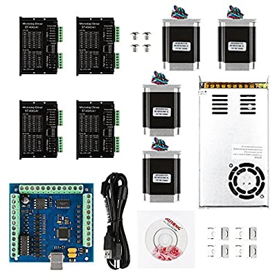 SainSmart CNC 4-Axis Kit with TB6560 / TB6600 Motor Driver, Paralle Interface / USB Interface Breakout Board, Nema23 270 Oz-in Motor and 24V Power Supply