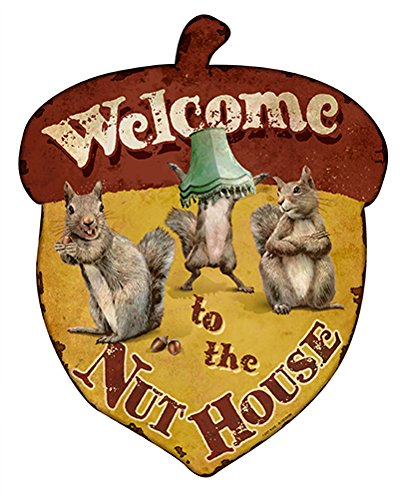 To The Nuthouse Squirrels Novelty Sign | Indoor/Outdoor | Funny Home Décor for Garages, Living Rooms, Bedroom, Offices personalized gift Wall Plaque Decoration (Welcome Nuthouse)