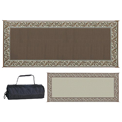 Stylish Camping Ming's Mark RC7 Reversible Classical Patio Mat-8' x 20', Brown/Beige