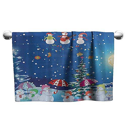 (Christmas Snowman Beach and Pool House Towel Winter Snowkids Snowing Moonlight Snowflakes Digital Print Blue Yellow White Fuchsia W27 x L55 Pink Green Machine Washable)