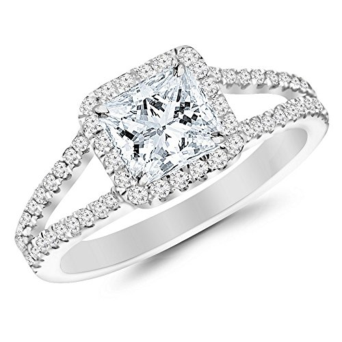 14K White Gold 095 CTW Princess Cut Halo Style Double Row Pave Set Designer Diamond Engagement Ring J Color VS1VS2 Clarity 05 Ct Center