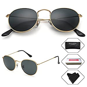 Small Round Vintage Mirror Lenses UV Protection Unisex Sunglasses by HMIAO (Gold Frame, Black)