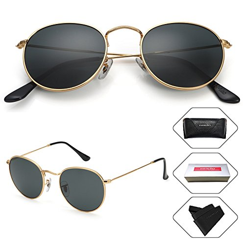 Small Round Vintage Mirror Lenses UV Protection Unisex Sunglasses by HMIAO (Gold Frame, Black) (Round For Sunglasses Men)