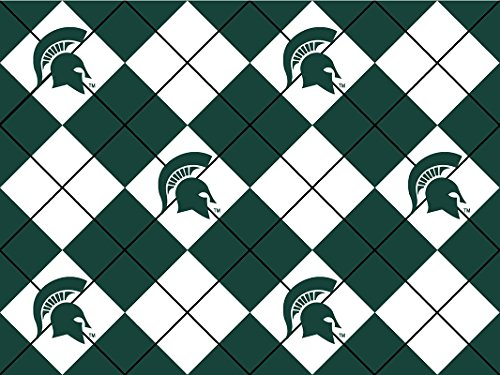 NCAA Licensed Michigan State University Spartans Argyle Fleece Fabric 60'' Width Sold By The Yard ()