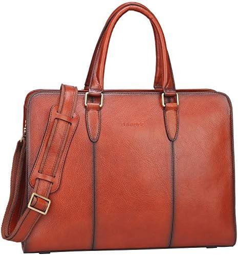 Banuce Genuine Leather Briefcase Messenger
