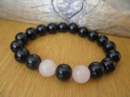 Pink Rose Quartz and Black Onyx Gemstone Bead Bracelet -