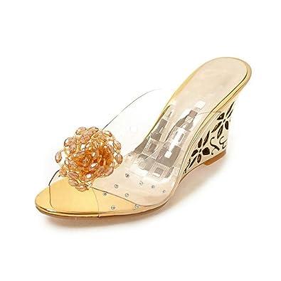 1ac1a3f29c5d8 Amazon.com | Women's Metal Wedge Heeled Sandals Peep Toe Hollow ...