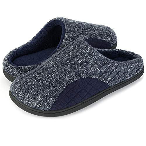 Image of ULTRAIDEAS Men's Cashmere Cotton Knitted Autumn Winter Memory Foam Fabric Slippers
