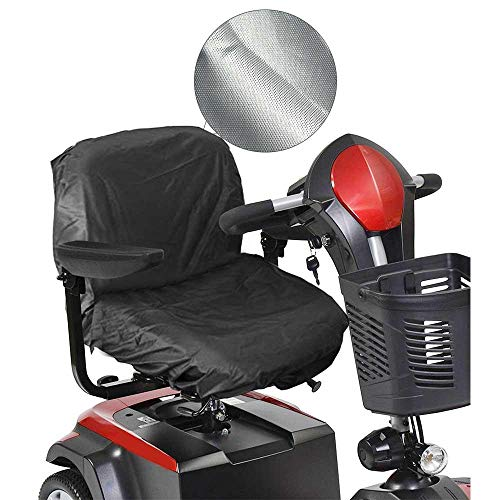 AOLVO Scooter Seat Cover, 210D Oxford Motorized Wheelchair Seat Cover with Magtic Tape Strap Waterproof Elasticity Electric Scooter Seat Cover - 35.4 in X 18.1 in - Black ()