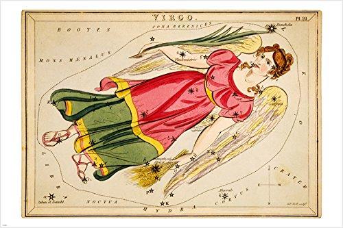 Urania's Mirror vintage Virgo 1825 Astronomy Poster Stars symbols
