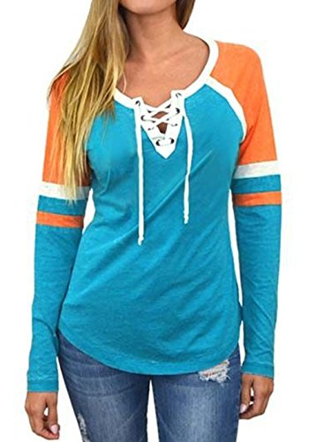 Raglan Crewneck Sleeve Long (Famulily Women's Lace Up Front Long Sleeve Tops Striped Crew Neck Raglan Baseball Tee Shirt(M,Blue))