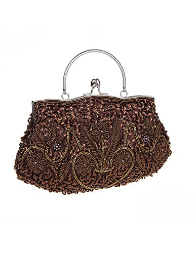 Brown Women And Wedding Party Evening Beaded Bag Style TSRHFGT Handbag Purse Clutch Vintage Sequined OxgwfndSqn