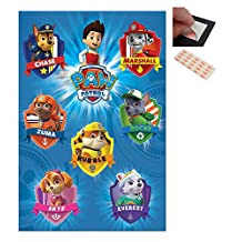 Bundle - 2 Items - Paw Patrol Crests Poster - 91.5 x 61cms (36 x 24 Inches) and a Set of 4 Repositionable Adhesive Pads For Easy Wall Fixing