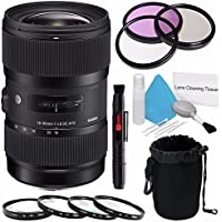 Sigma 18-35mm f/1.8 DC HSM Art Lens for Canon (International Model) No Warranty + 72mm 3 Piece Filter Kit + Deluxe Cleaning Kit + 72mm Macro Close Up Kit + Deluxe Lens Pouch Bundle