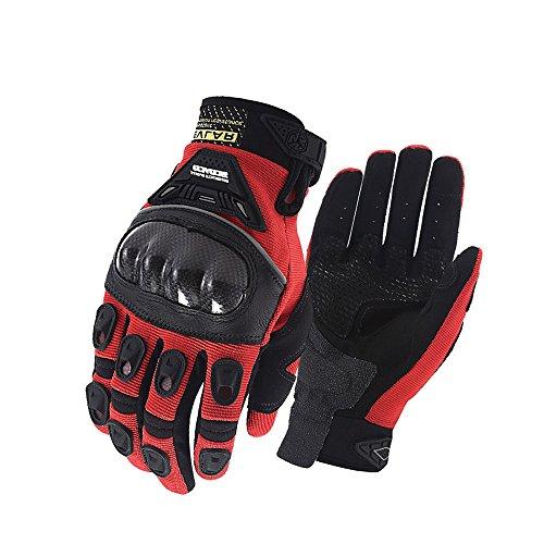 SCOYCO Men's Kevlar Motorcycle Gloves Fibershell Cycling Glove(L,RED)