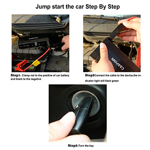 Carpow 500A peak 13600mAh 12V/16V/19V (up to 6.0L Gas, 5.2 Diesel engine Portable &quick charge car jump starter with smart jumper cables built in LED Emergency flashlight Black by Carpow (Image #5)