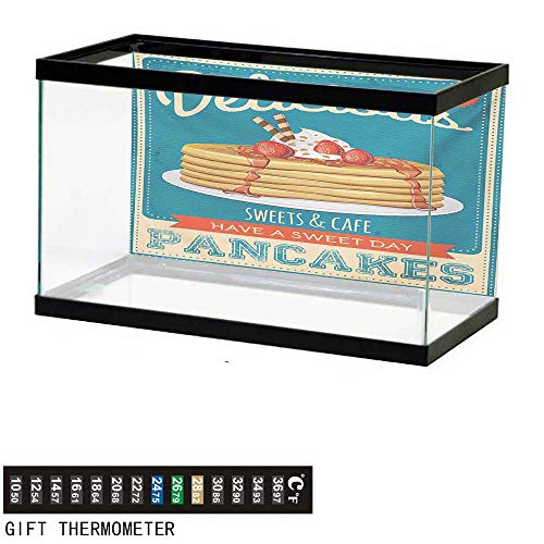 Aquarium Background,Vintage,Delicious Pancakes with Cream and Jam Eighties Diner Flyer Design,Cream Pale Brown and Blue Fish Tank Backdrop 60